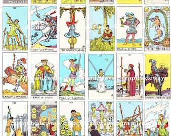 Set of 78 Rider Waite Tarot Cards Digital Collage Sheet Ephemera Printable INSTANT DOWNLOAD
