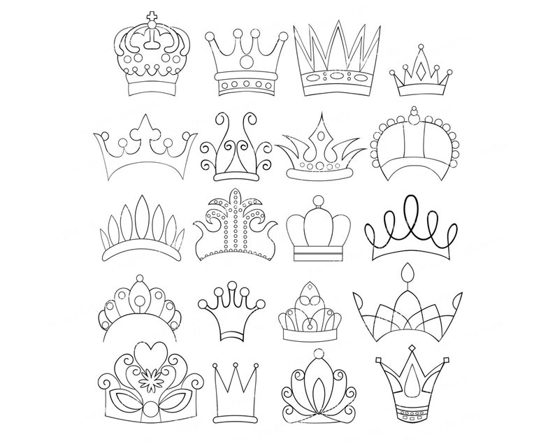 Set Of 20 Doodle Crowns Graphics Clipart Images Tiara Princess