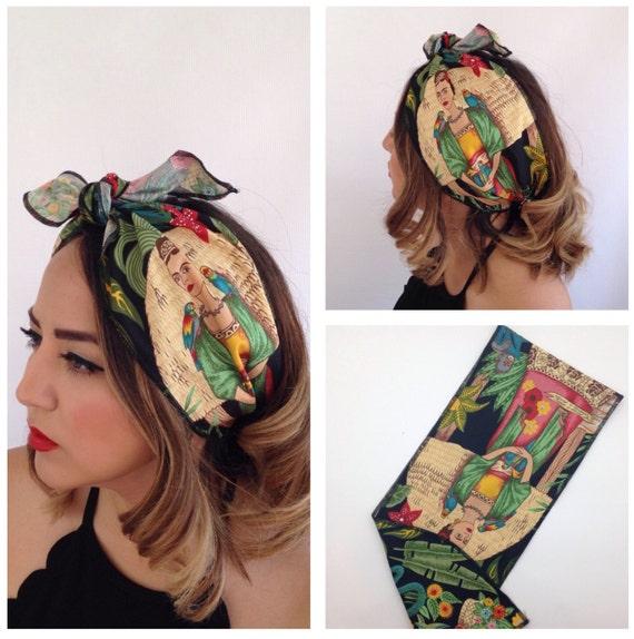 Frida Wide Hairwrap Rockabilly Headband Bandana Mexican Hair Etsy