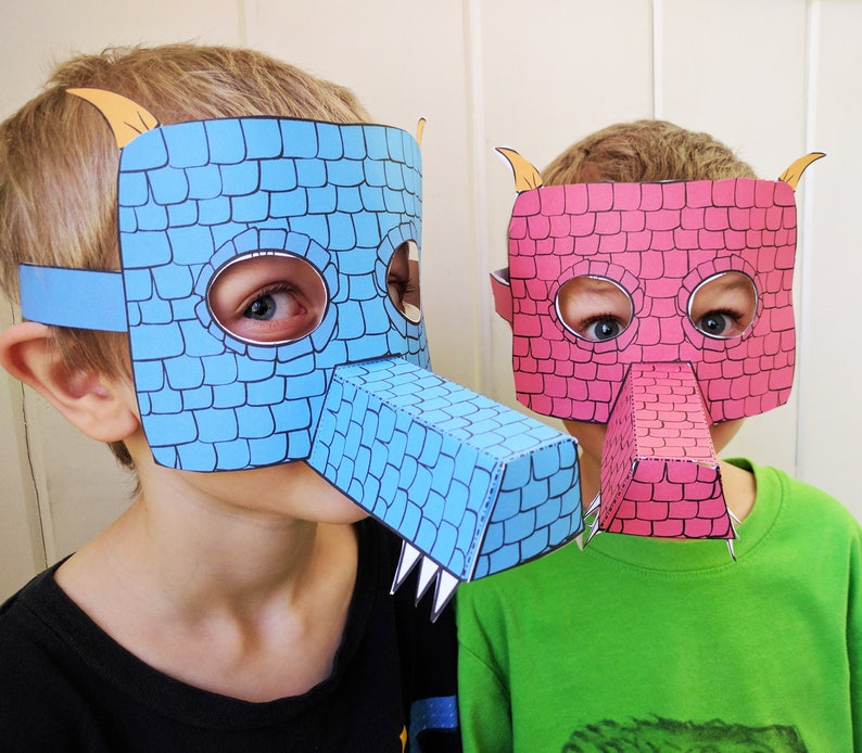 photograph relating to Printable Papercrafts identified as Printable Dragon Masks - Coloured Papercrafts for Children