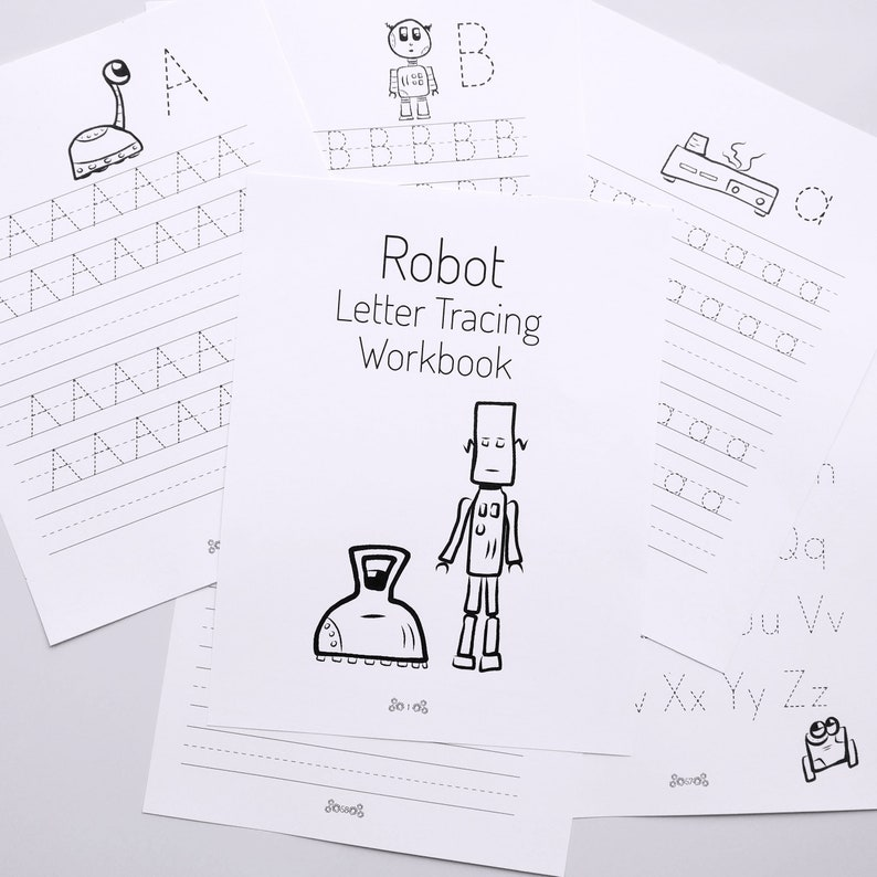 Letter Tracing Workbook with Robots  PDF Download image 0