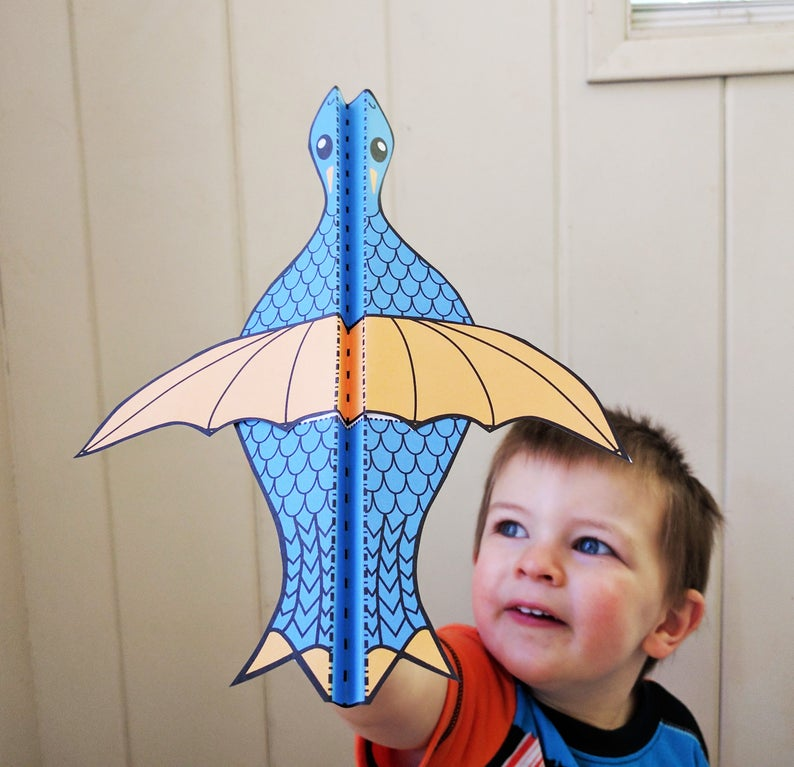 Printable Dragon Paper Airplane image 0