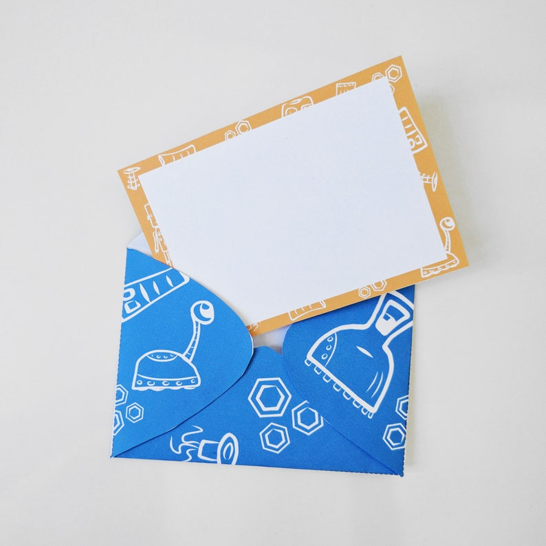 Robot Printable Notecards and Envelopes image 0