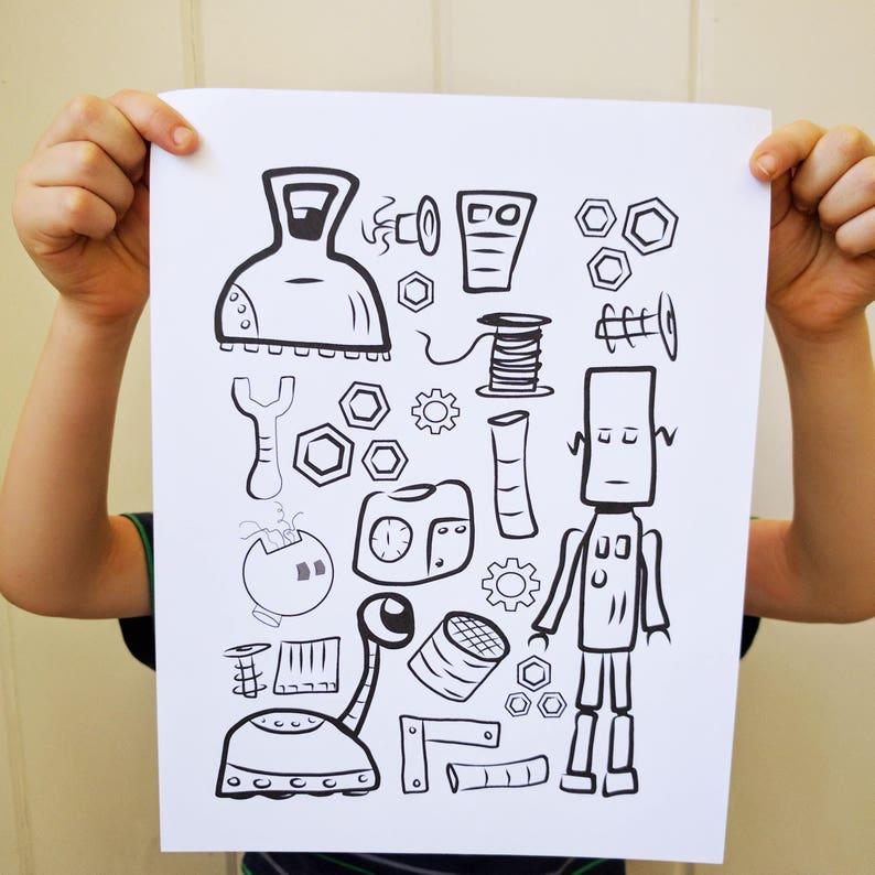 Robot Printable Coloring Page image 0