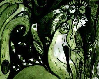 Moss Green Forest Creatures original green ink drawing