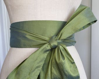 Earth Green silk sash, Green Bridal sash, wedding gown obi sash, silk bridal gown sash belt, Obi belt sash, waist cinchet