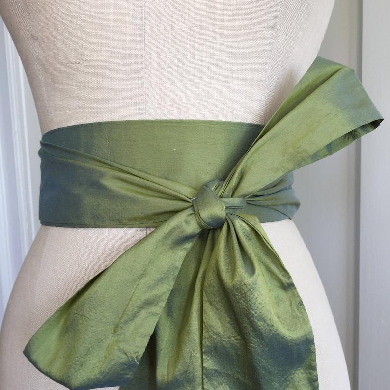 Earth Green silk sash Green Bridal sash wedding gown obi image 0