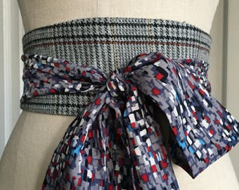 Grey suiting obi sash belt, multi print gray obi, reversible obi sash, grey gingham obi sash, waist cincher obi sash