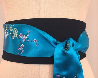 Bright blue obi sash belt , asian brocade obi belt sash, peacock blue obi, wedding obi sash, reversible satin sash, waist cincher
