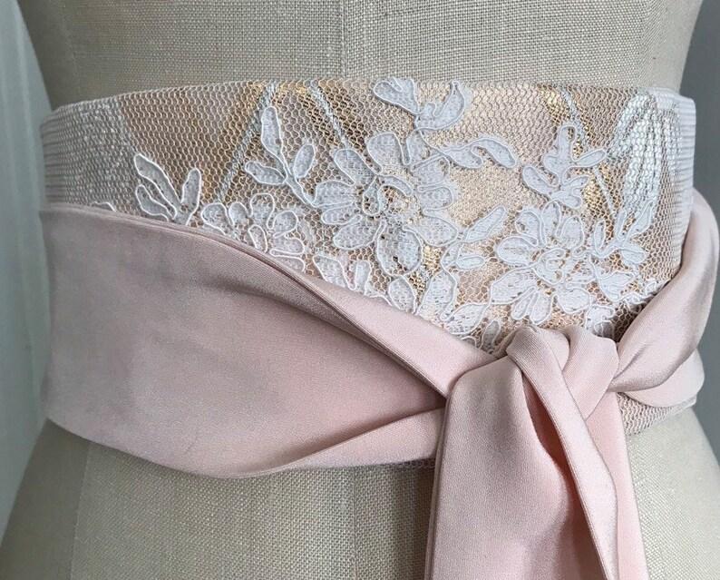 Wedding sash Bridal silk obi belt lace obi sash peach obi image 0