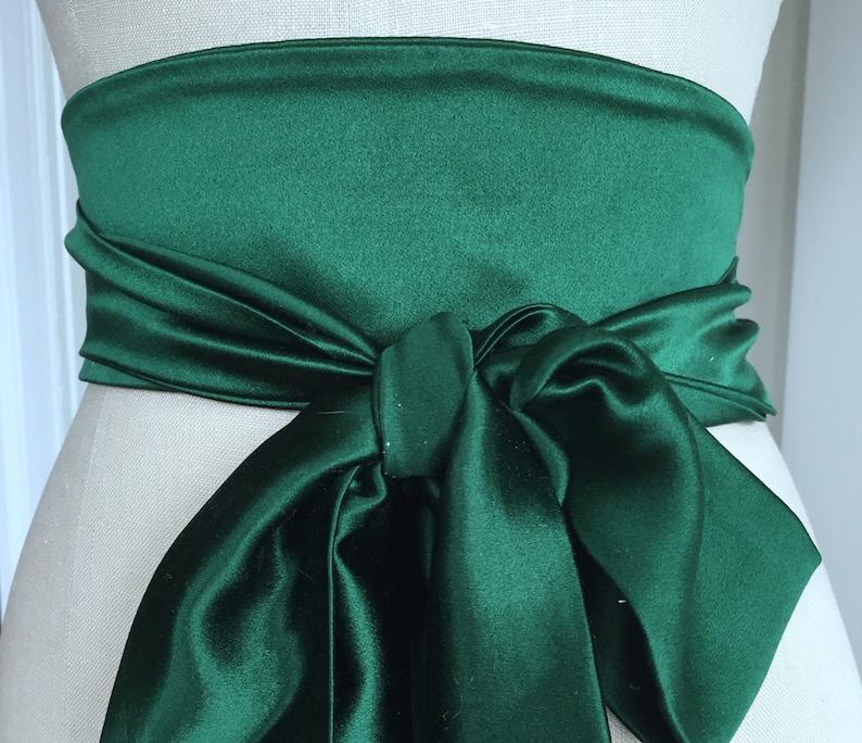Emerald green wedding sash silk wedding obi bright green oni image 0