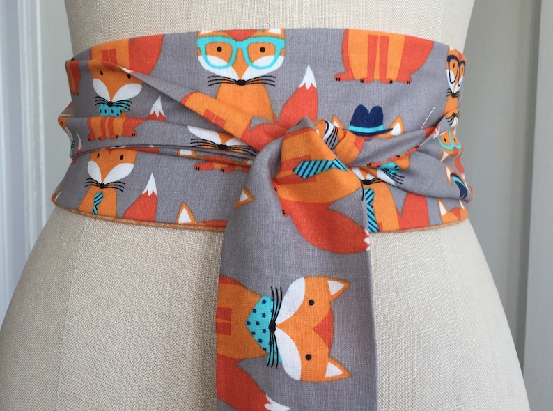 Fox print Obi Belt cotton print obi sash orange print obi image 0