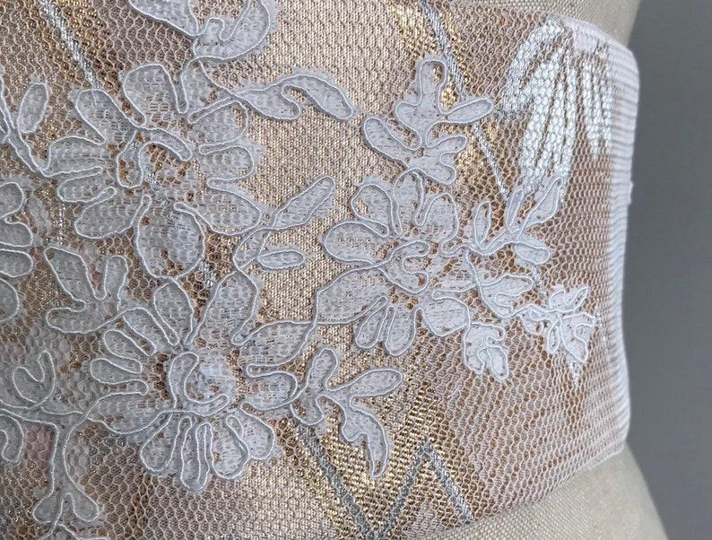 waist cincher sash lace obi sash silk sash peach obi belt wedding dress sash Wedding sash Bridal silk obi belt