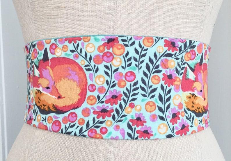 Adorable Fox print obi belt cotton printed obi belt sash image 0