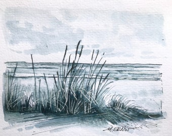 Original Art Ink Sketch, ink illustration, Lake Michigan Beach Art, Beach Art, Pen And Ink drawing, Beach grass sketch