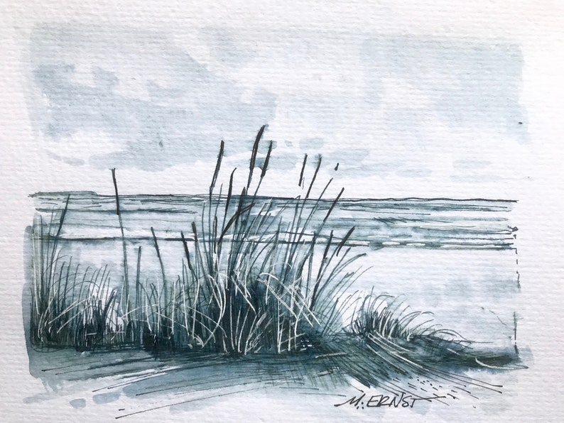 Original Art Ink Sketch ink illustration Lake Michigan Beach image 0