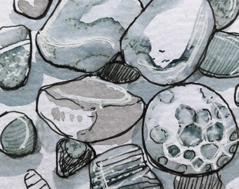 Beach Rocks artwork, original art ink sketch, Pen and Ink sketch, rocks illustration, Lake Michigan ink sketch, Beach ink sketch