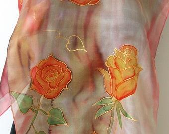 Orange roses scarf. Hand painted scarf. Silk scarf. Feminine silk scarf. Floral scarf. Art scarf.