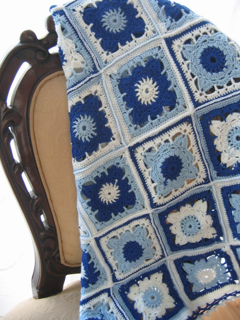 Light blue navy blue and white blanket Crochet afghan baby crochet blanket handmade blanket granny square afghan