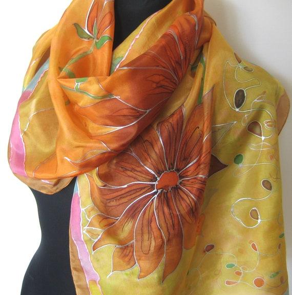171527d54419 Foulard en soie peinte à la main. Tangerine moutarde foulard   Etsy