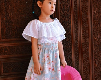 Charlotte Dress For Girls 12M-10Y PDF Pattern & Instructions- Elastic neckline, elastic waistline, vintage, classic, laced ruffles, flowy