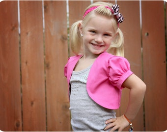 Little Missy Bolero for Girls 12M-8Y  PDF Pattern & Instructions- Puffy Sleeves - Cropped Length- Easy sew