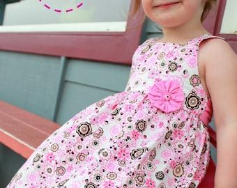 Tiffany Dress- Size 6M-8Y - PDF pattern-Easy sew instruction includes making Yoyo flower-Fully Lined bodice- Square neckline