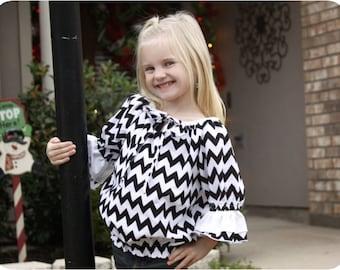 Bella Blouse for Girls 12M-10Y PDF Pattern & Instructions -3/4 sleeves-ruffles-elastic waist-drawstring tie-contrasting neckline-easy sew