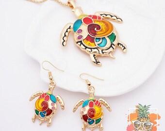 Mosaic-Style Sea Turtle Necklace Set