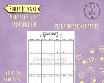 bullet journal monthly calendar sticker for 2019 a5 business etsy