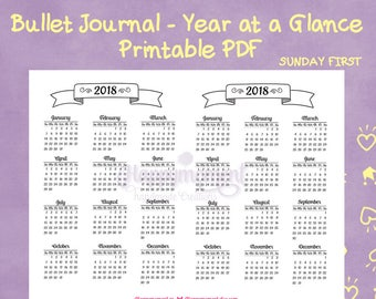 2018 year at a glance calendar printable sticker bullet journaling sunday first