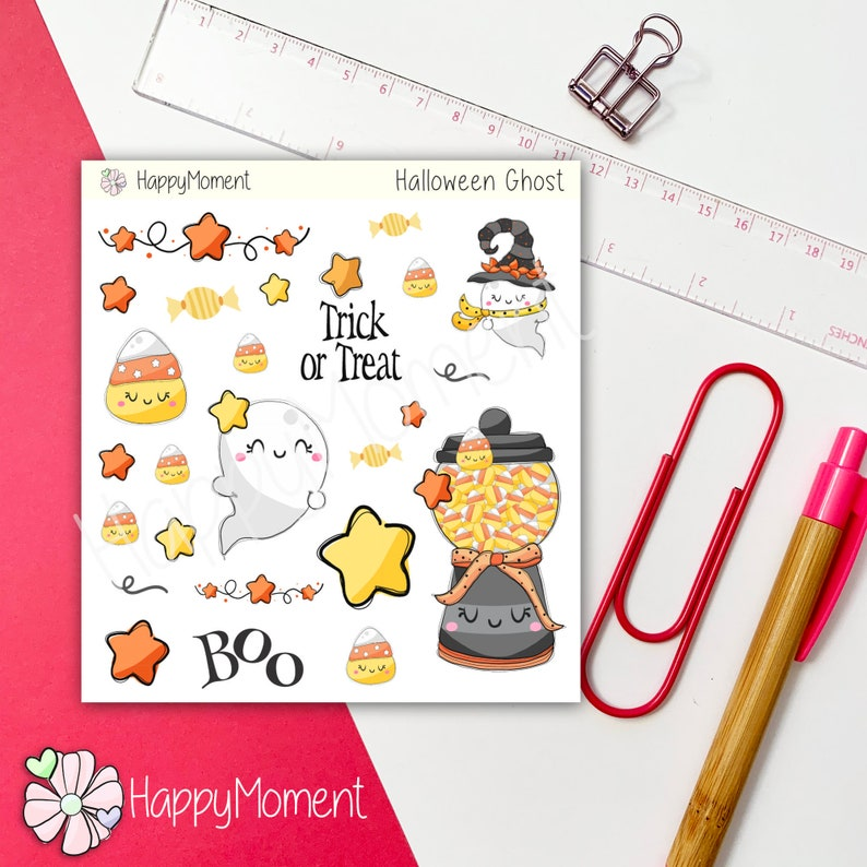 Halloween stickers  Cute ghosts trick or treats and candies image 0