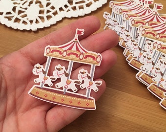 Red carousel paper cutout | Merry-go-round Die Cuts | Set of 30 Pcs - ~2in