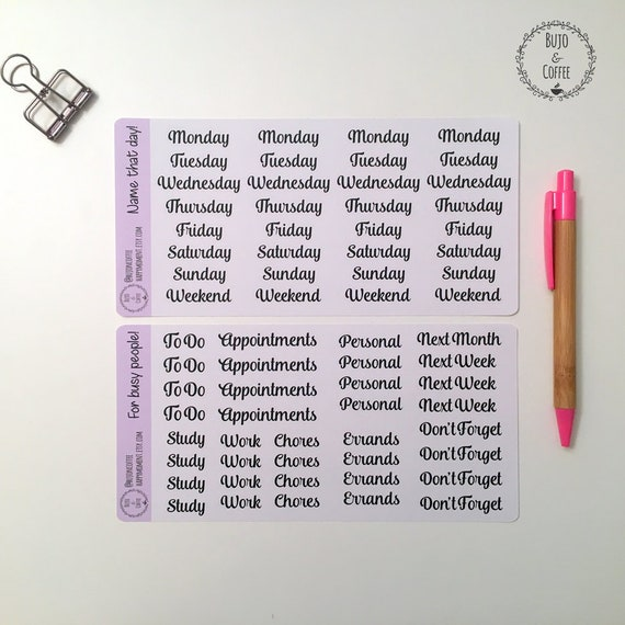 And Lettered Week's Days Stickers Hand Titles nmw8N0