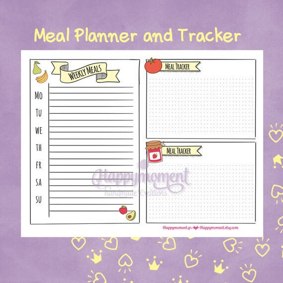 meal planner stickers printable hand drawn food tracker etsy