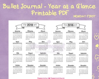 Bullet Journaling 2018 Year at a Glance Calendar Printable Sticker   MONDAY FIRST