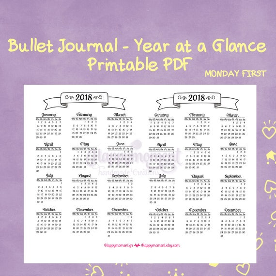 bullet journaling 2018 year at a glance calendar printable etsy