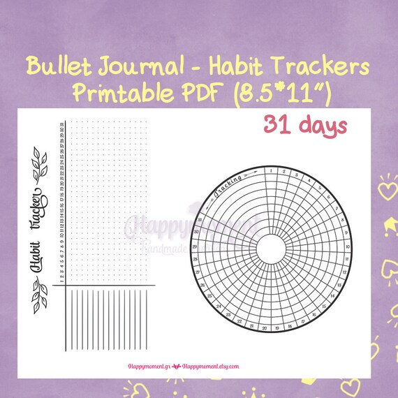 photograph about Bullet Journal Habit Tracker Printable named Bullet Magazine Pattern Trackers Printable Sticker Round and Horizontal Tracker for your Bujo BuJo inserts - BuJo stickers