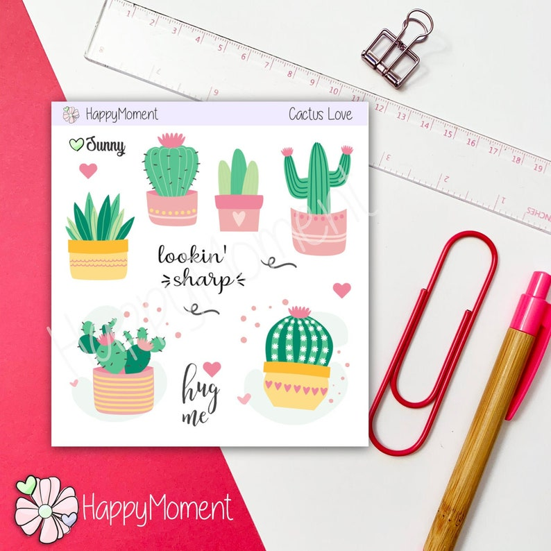 Cactus theme stickers  2 sheets of various cute cacti designs image 0