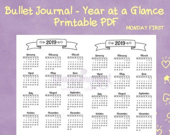 Bullet Journaling 2019 Year at a Glance Calendar Printable Sticker   MONDAY FIRST