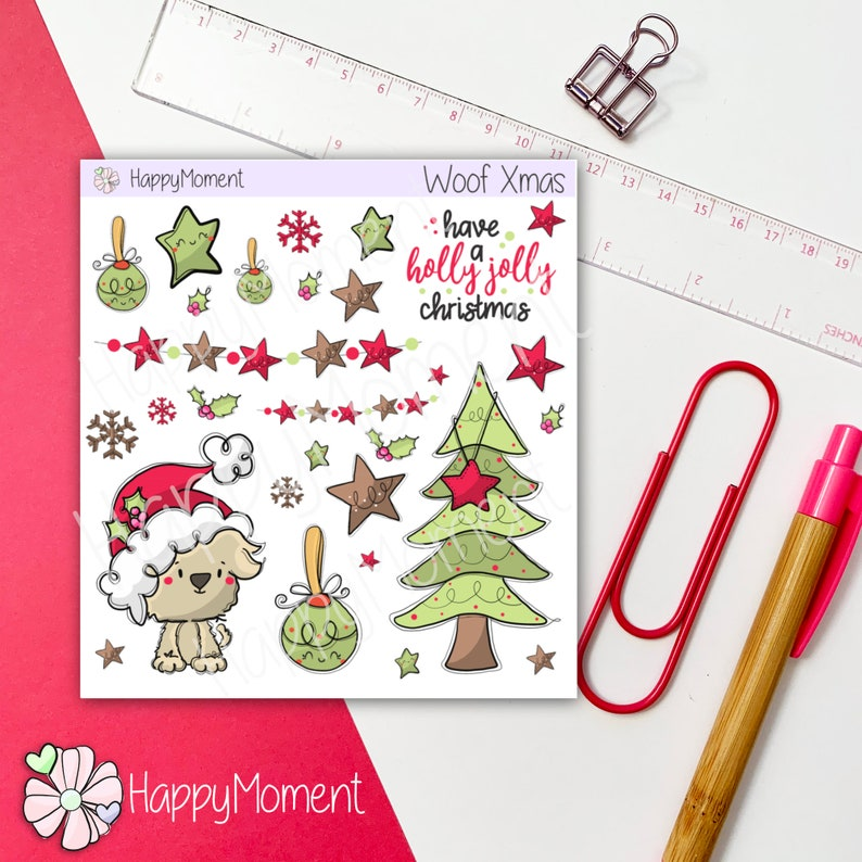 Christmas stickers and Santa cute Dog for your bullet journal image 0