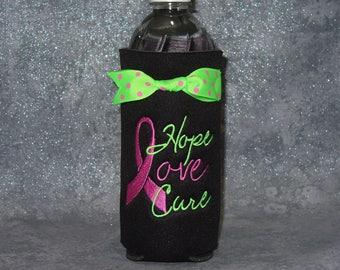 Water Bottle Cozy, Breast Cancer Bottle Holder