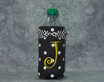 Custom Water Bottle Cozy, Monogram  Bottle Cozy, Polka Dot Cozy
