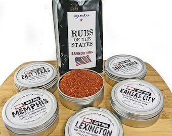 DELUXE! Gusto Spice's =Rubs of The States OR Rubs of the South= Barbecue Spice Gift Set for the BBQ Master