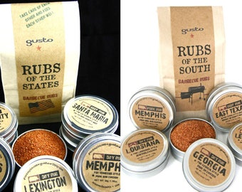 TWO Gusto Spice Rub sets - One Original Rubs of the STATES and One Rubs of the SOUTH // Barbecue Gift Set -  Bbq Grilling Spices