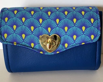 Wallet, Canvas and Marine Vinyl Clutch wallet with pockets and slots, Mini Necessary Clutch Wallet, Sapphire blue wallet
