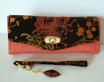 Silk brocade and Cork Clutch wallet with pockets and slots, Necessary Clutch Wallet, large cork and silk clutch