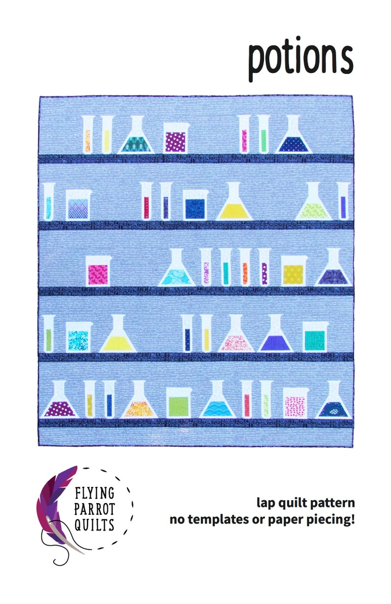 Science quilt pattern Potions quilt pattern by Flying Parrot image 0