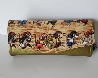 Dancing Egyptian Mice Cotton and Cactus Leather Clutch wallet with pockets and slots, Large Clutch Wallet, NCW