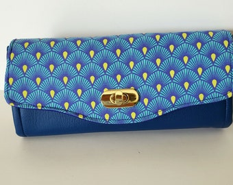 Large clutch wallet, Sapphire Blue Marine Vinyl Clutch wallet with pockets and slots, blue and yellow cotton flap, Necessary Clutch Wallet